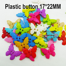 Hot sale Wholesale Mixed Color butterfly Shape 2 Hole PLASTIC Button Fit Sewing Scrapbooking Apparel Sewing(China)