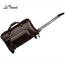 LeTrend High-quality Genuine Leather Men Travel Bag Trolley Vintage Rolling Luggage Suitcase Wheels Retro Carry On Trunk Handbag(China)