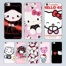 lovely Hello Kitty design transparent clear hard Case for Xiaomi Mi 5 5s Plus 4 4s redmi note 4 3 4Pro