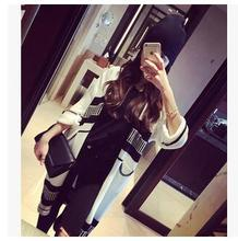 Spring new European long style loose women's sweater cardigan lantern sleeve black and white striped Women knit cardigan