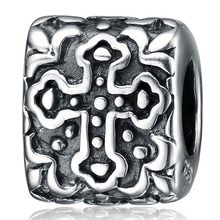 Aceworks Factory  100% 925 Sterling Silver Sculpture Religion Cross Beads Jewelry Making DIY Bracelet Charms Vintage Square