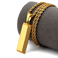NYUK Cube Bar Bullion Necklace & Pendant Gold Star Men Hip Hop Dance Charm Franco Twisted Chain Hip Hop Golden Jewelry For Gifts