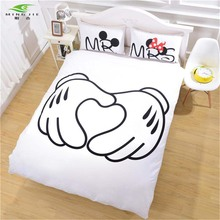 Mickey Mouse handshake Bedding Set Heart Bedding Plain Printed Christmas Gift Soft Home Textiles Bedroom Twin Full Queen size(China)
