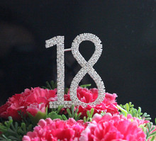 "Letter ""18"" Double Rows Rhinestone Diamante Monogram Cake Toppers For Wedding Birthday Party Decoration 1pcs(China)"