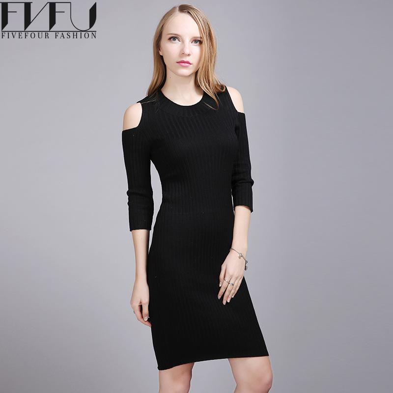 Fashion 2017 Winter Autumn Dress Women Elegant Off Shoulder Long Sleeve Dresses Elegant Casual Knitted Long Sweater Dress WomenÎäåæäà è àêñåññóàðû<br><br>