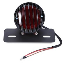 Hot sale! Motorcycle Ribbed Round Tail Brake Light for Custom Harley Bobber Chopper Motorbike Black Round Metal with License Pla