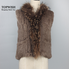 Genuine Rabbit Fur Vest Knitted Rabbit Fur Gelit With Raccoon Fur Waistcoat Plus Size Winter Fur Outwear TFP783