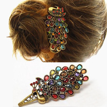 Simple 1 Pc Women Vintage Charming Colorful Crystal Peacock Hair Pin Hair Clip Jewelry Gift