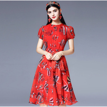 2018 Runway Fashion Designer Summer Dress Women's Puff Sleeve Scarf bowknot Red Chiffon Printed Elegant Office Lady Dress(China)