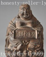 chinese Buddhism red wood Carving Wealth Happy Laugh Maitreya Buddha statue