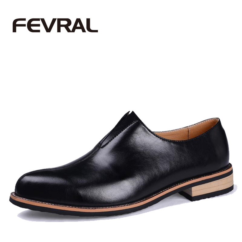 FEVRAL Brand New Spring Autumn Quality Leather Men Shoes Brogues Slip On Bullock Business Men Oxfords Shoes Men Dress Shoes<br>