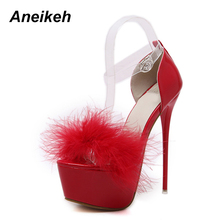 Aneikeh Sexy High-heeled Sandals High-heel Wedding Party Platform Shoes For Woman 4 Colours Size 34-40 White Black Red Pink