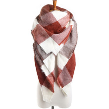 2017 Brand Scarf Square Brown Plaid Artificial Cashmere Warm in Winter Tassel Fashion Shawls For Women(China)