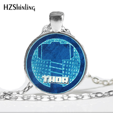 NS-00468 New Fashion Avengers Hammer Symbol Necklace Thor God of Thunder Jewelry Glass Picture Pendant HZ1(China)