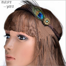 2014 New Fashion Bohemian Trendy Beaded Headbands With peacock feather Hair Acessories For Women Headband