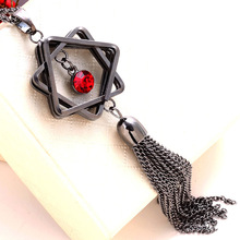 Europe and The United States Crystal Sweater Chain Jewelry High - End Retro Six - Star Shape Jewelry Long Necklace