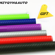 10cm 20cm 30cmx127cm 3D Carbon Fiber Vinyl Car Wrap Sheet Roll Film Car stickers and Decals Motorcycle Car Styling Accessories