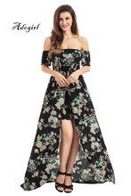 Buy Adogirl 2017 Summer Women Sexy Shoulder Romper Maxi Dresses Fashion Floral Print Slash Neck Half Sleeves Fit Flare Dress for $18.88 in AliExpress store