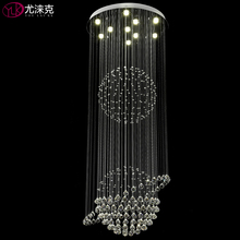 Double Crystal Ball Modern Dimmable Light Chandelier Luxury Living Room LED Crystal Lamp Long Stair Lobby Hanging Crystal Lights