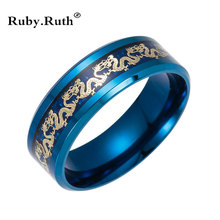 Black Stainless steel Ring Mens Chinese Traditional Gold Dragon Inlay with Blue Ring Fashion wholesale Jewelry(China)