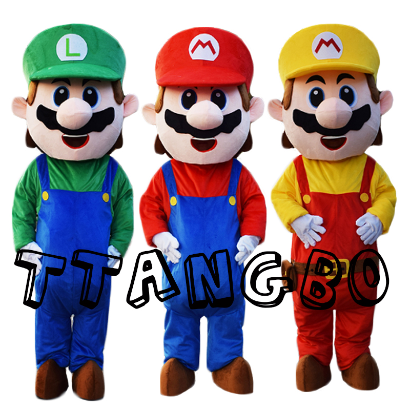New Adult Size Super Mario Mascot Costume Fancy Dress Lovely  Brothers Suit for Halloween Birthday party event