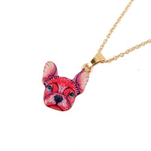 2016 New Fashion Colorful Animal Jewelry Red French Bulldog Pendant Necklace for Women(China)