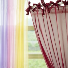 New Tie Top Voile Tulle Sheer Curtain Window Screening Cafe Hotel Bed Mantle Bedroom Dividers Purdah Living Room Decorative
