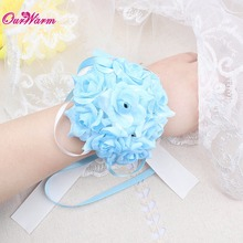 Wrist Flower Silk Ribbon Bride Corsage Hand Decorative Wristband Bracelet Bridesmaid Curtain Band Clip Bouquet for Wedding
