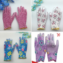 NMSafety high quality breathable flower print polyeaster liner coated PU gloves gardening,gloves garden women garden gants(China)