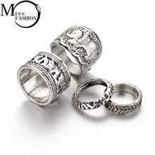 (4PC/SET) Inner Dia 15-19mm Antique Silver Engraved Elephant African Tibetan Vintage Mixed Designs Ring Set for Women 2017