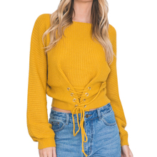 2017 Autumn Lace Up Sweater New Shrugs for Women Adjustable Waist Bandage Yellow Sweater Pullover Solid Knitted Sweater Coat(China)