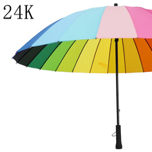 24 Rib Women Rain Umbrella Windproof Golf Parasol Long Big Rainbow Walking Stick Umbrella Cane Guarda Chuva Parapluie Paraguas(China)