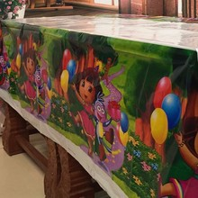 Lovely 108cm disposable Birthday tablecloth Cartoon Dora kids happy birthday party plastic tablecover supplies