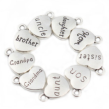 20 pcs/lot Mixed Antique Silver Color Love Heart Beads Metal Charms Words Handmade Floating Charm Pendant Jewelry Making F2038(China)