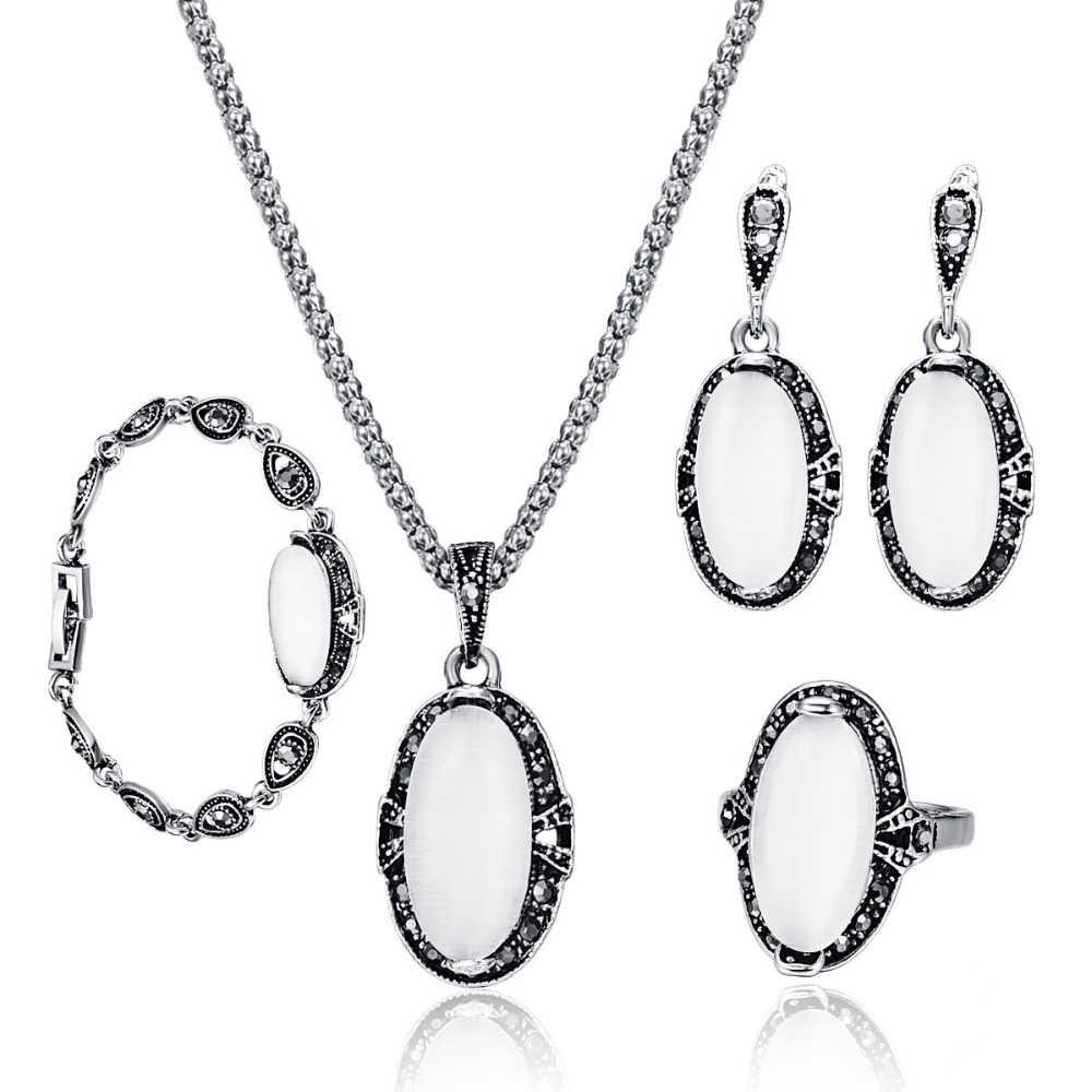 Модные изысканные опаловые комплекты ювелирных изделий для женщин Свадебные  цепочки и ожерелья браслет серьги кольцо 4 66d0a6d1a00