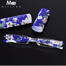 2017 2pcs Leesbril Colorful Portable Reading Glasses Pen Reader With Case , +1.0-4.0 slim Rimless Lightweight Women Mutli Color(China)