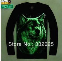 C&C Market.Free Shipping.New Brand t-shirts.3D print.long clothes mens tops.tshirt.quality night light.US wolf fashion style.(China)