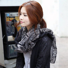 Deer printing shawl Korean Winter Women Scarf Cotton female neckerchief cute Scarves linen girl warm long muffler black 175X90CM