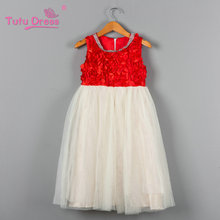 New Summer Baby Girl Clothes Red Rosette Flower Girl Dress for Wedding Girls Party Dress Children Christmas Party Dress