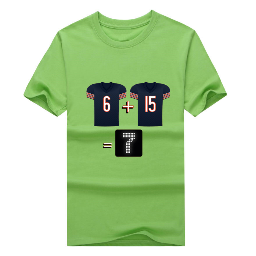 Newest 2017 Chicago Jay Cutler Brandon Marshall 6 + 15 will equal 7 points! t-shirt Bears T shirt 100% cotton(China (Mainland))