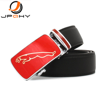 {JPQHY} Alloy Red Automatic Buckle Panther Genuine Leather Men's Strap High Quality Gentlemen's Casual Belts jmg062