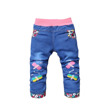 BibiCola 2017 New Spring Autumn Children Kids Jeans Girl Elastic Waist Straight Cartoon Pattern Denim Pants Baby Girls Trousers(China)
