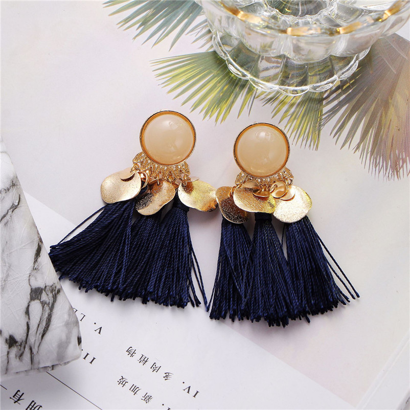 2018 Trendry Earrings for Women Bohemian Fashion Weave Tassel Earrings Long Drop Earrings Jewelry for gift Brincos J05#N (14)