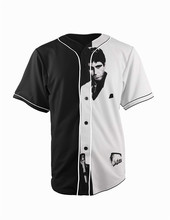 Real American Size scarface 3D Sublimation Print Custom made Button up baseball jersey plus size