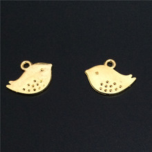 High Quality 50 Pieces/Lot 13mm*16mm Gold Or Shiny Silver Plated Small Birds Bird Charms For Jewelry Making