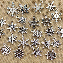 PULCHRITUDE Mixed 100 pcs Snow Charms ndants Beads Metal Alloy Pandent Color Antique silver Christmas charm Diy T0467