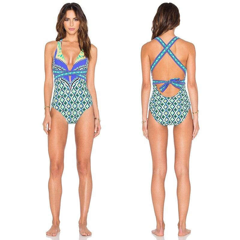 New Sexy Women Print One Piece Swimwear Women Monokini Swimwear Swimsuit Sun-Bathing Wear<br>
