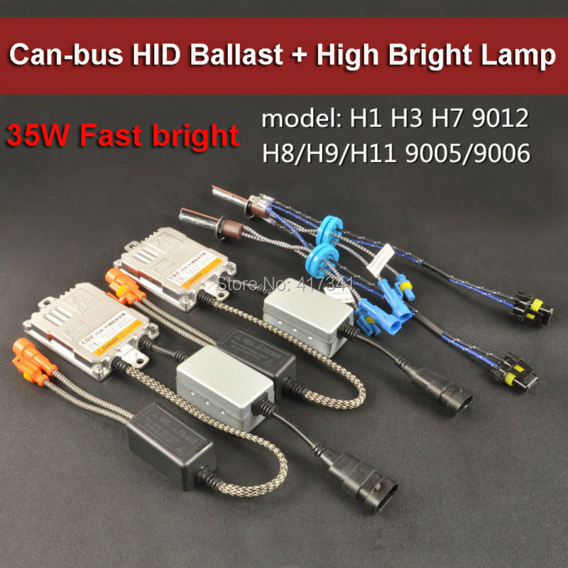 35W X1 HID Xenon Ballast with Canbus function Fast Bright + CBX High Bright Xenon Lamp 5500K for Headlight Replacement 2pcs/lot<br>
