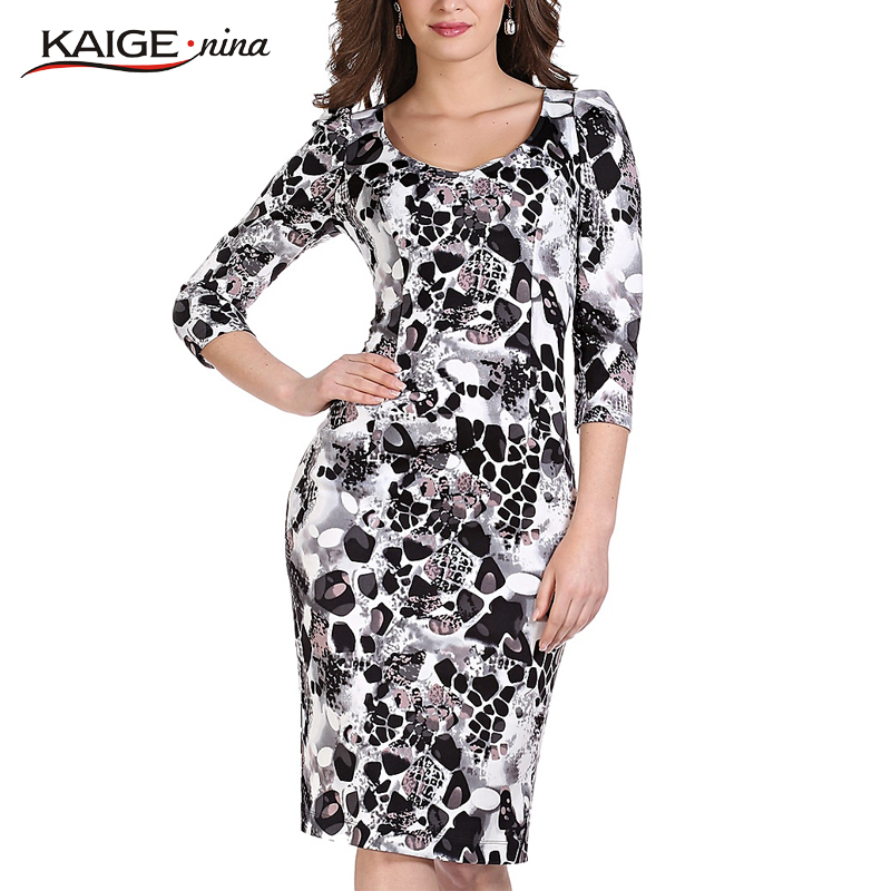 Kaige.Nina New Women's Clothing Novel Style 7 Minutes Of Sleeve Round Collar Tight Printing Knee-Length Dress 1228(China)