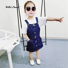 Willa's Dance Baby Denim Dress for Girls 2017 Summer Cute Striped Jean Dress Girls Brand Europe America Style Kids Clothes